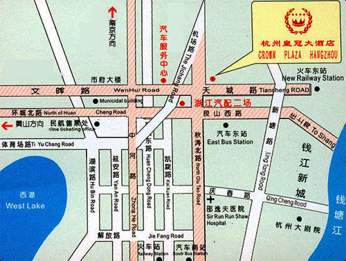 Crown Plaza, Hangzhou Map