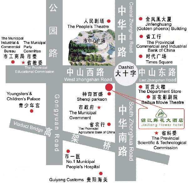 Jinjiang Flower Hotel,Guiyang Map