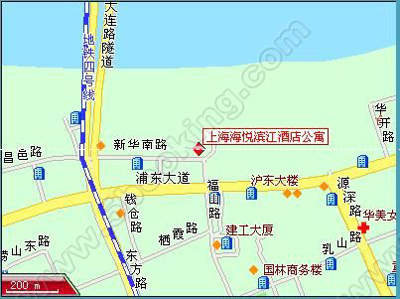 Kingland Service Apartment Shanghai Map