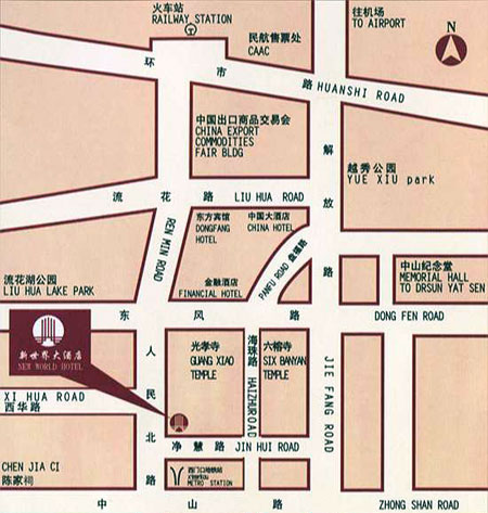 New World Hotel Guangzhou Map