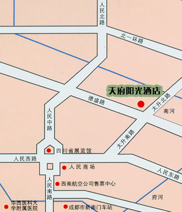 Tianfu Sunshine Hotel ,Chengdu Map