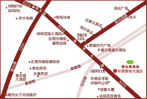 Vienna Hotels-Dongguan Houjie Road Branch Map