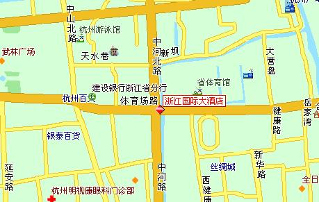 Zhejiang International Hotel, Hangzhou Map